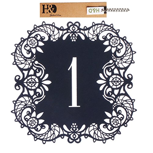 - Hyaline&Dora Laser Cut Wedding Table Card Numbers Lace Table Cards for Wedding Reception Party Favors (black number1-10)