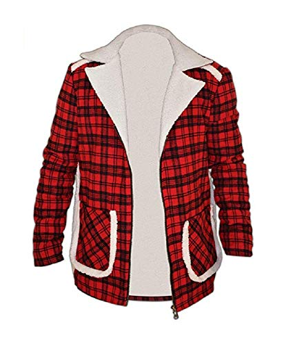 SouthBeachLeather Ryan Reynolds Red Shearling Deadpool Flannel Jacket Used