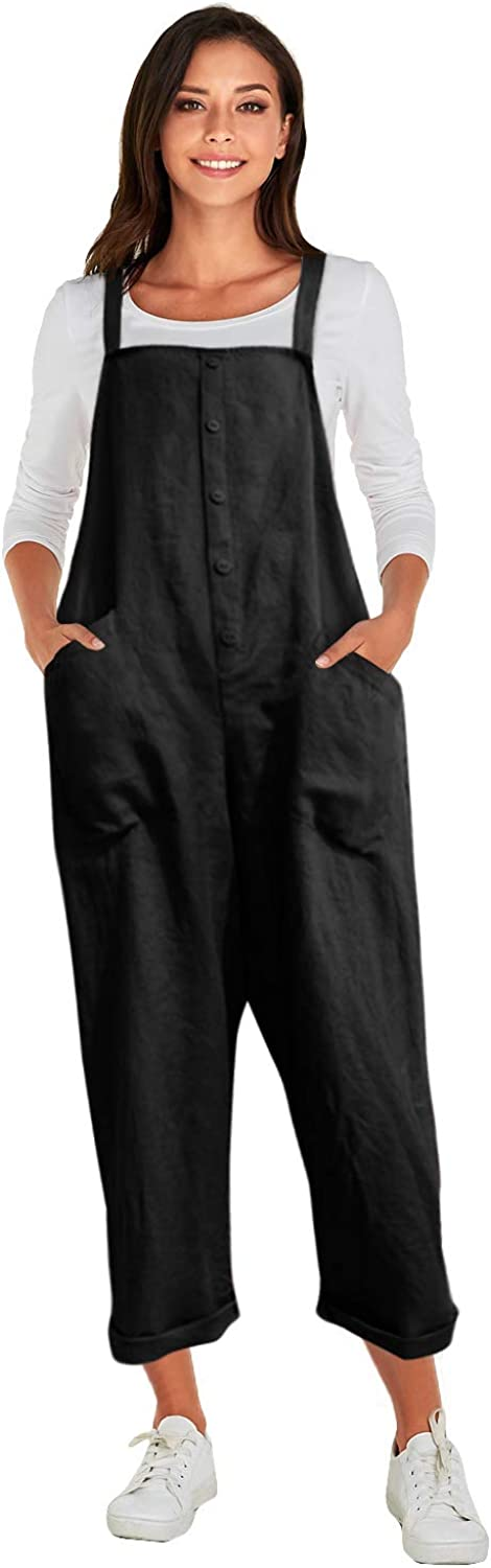 Celmia Women's Strappy Jumpsuits Overalls Casual Harem Pants Wide Leg Low Crotch Loose Trousers