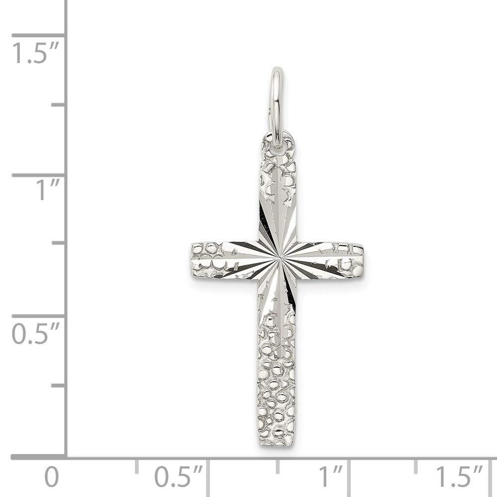 1.14 in x 0.63 in Jewel Tie Sterling Silver Cross Pendant