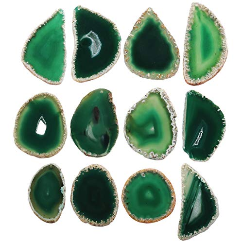 (mookaitedecor Polished Agate Slices Geode Top Drilled Pendant Slice for Jewelry Making Pack of 12)