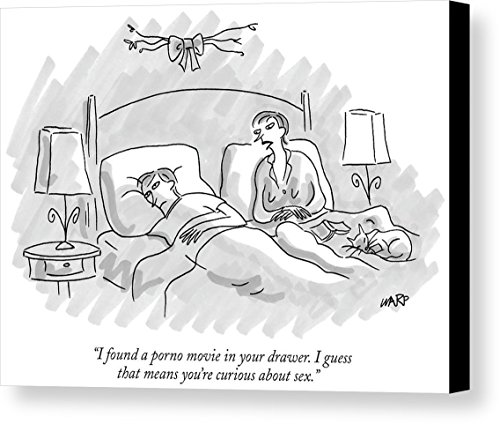 """""""I Found A Porno Movie In Your Drawer. I Guess"""" by Kim Warp, New Yorker, November 8th, 2004, Canvas Print"""