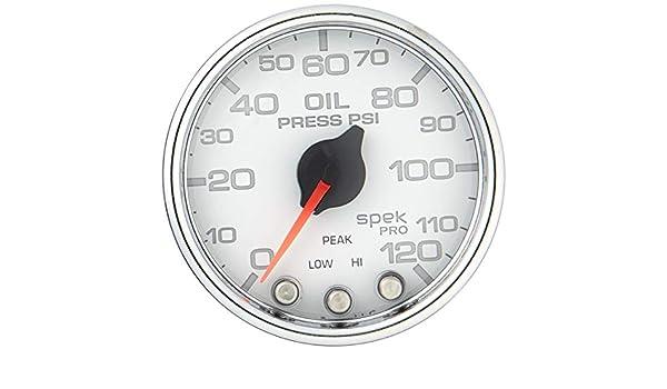 Spek-Pro Wht//Chrm 2 1//16 AUTO METER P32511 Gauge Oil Press 120Psi Stepper Motor W//Peak /& Warn