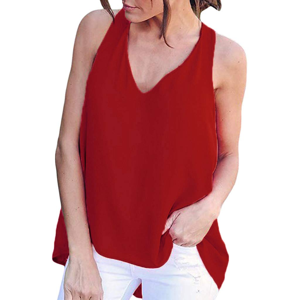 Libermall Women's Tank Tops Loose Fit Summer Sexy V-Neck Chiffon Cami Vest Sleeveless Shirts Blouse Tops Red