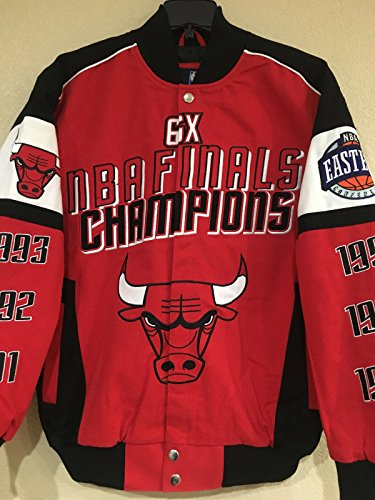 Chicago Bulls 6x NBA Finals Champions Twill Jacket By G-III (4X-Large) by G-III Sports