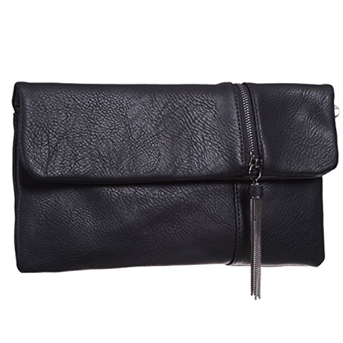 with chain pocket Bag Black Foldable Leather Faux Bridal Medium long Women Ladies outer Prom and Designer Party London Clutch Flat Xardi Evening Z1YTR
