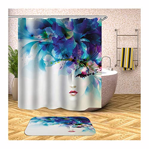 Aokarry 2 Pieces Polyester Shower Curtain & 40x60cm Rug Set Colorful Glamour Woman 66x80 ''
