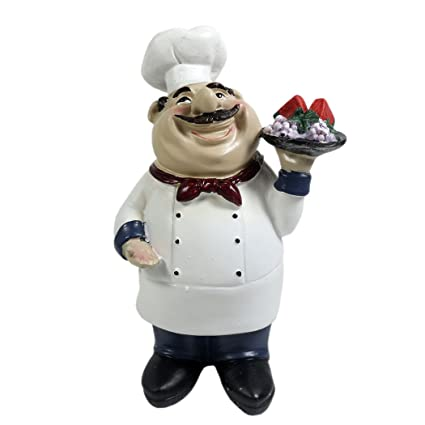 KiaoTime Italian Chef Figurines Kitchen Decor Cooking Chef With Fruit  Figurine Counter Top Welcome Chef Statue