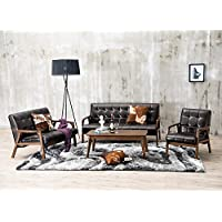 Baxton Studio 3-Piece Mid-Century Masterpieces Sofa Set, Brown
