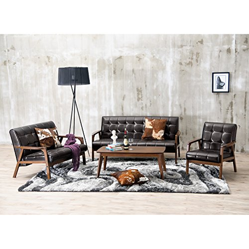 - Baxton Studio 3-Piece Mid-Century Masterpieces Sofa Set, Brown