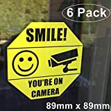 **Front Facing Self Adhesive Vinyl** (6 Pack) 89mm X 89mm Home Business SMILE YOU'RE ON CAMERA Yellow Window Door Warning Security Alert Sticker Decals