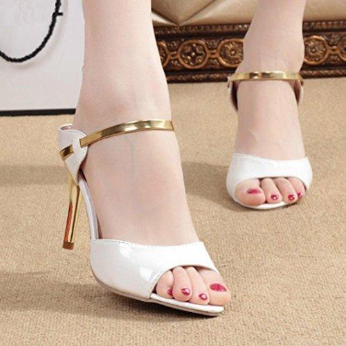 Sandales Poissons à Open Bout Toe Blanc Hauts Ouvert Bouche Cheville Party Talons Argent Lolittas La Dames Femmes Chaussures Mode Blanc des Or Block TIxwvUX0