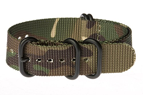 OhFlash 24mm [Camouflage] Zulu 5 Ring PVD G10 Nylon Nato Militaty Watch Band Strap