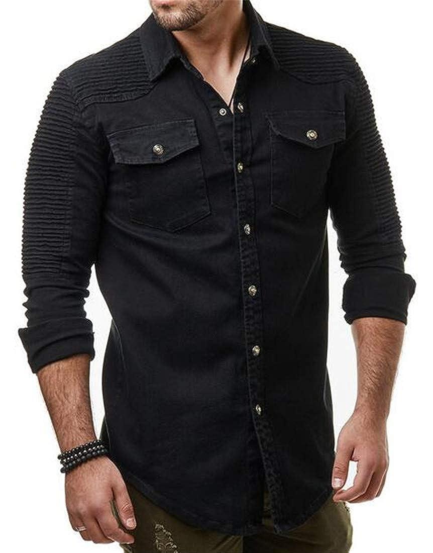 GRMO Men Fashion Solid Washed Ruffle Long Sleeve Jean Button Down Casual Shirt