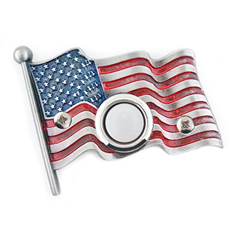 (American flag Decorative Doorbell with lighted button. Hand Painted)