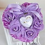 bgblgf M Rose Ring Pillow PE Bubble Flower Heart-Shaped Cake Single Layer Ring Pillow, Purple