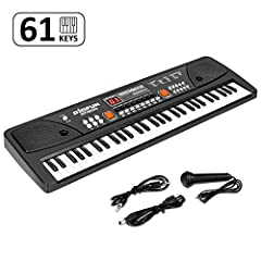 M SANMERSEN 61 Keys Portable Kids Piano Keyboard -With a mini microphone, kids can sing while they playing. -Power saving function, when you not playing the piano more than 3 minutes,it will enter sleep. -USB power supply, take about 4 hours ...