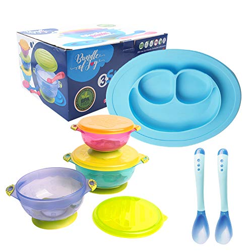 ([ New Packaging ] Bundle of Joy Feeding Set Best Suction Baby Bowl for Toddler Silicone Plate Two hot Safe Spoons – Toddler Baby Feeding Set - Baby Feeding Set BPA Free Silicone (Blue))
