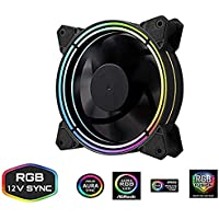 GOLDEN FIELD 120mm Addressable RGB LED Case Fan, Adjustable Color PC Cooling Fan, Motherboard Sync 4 Pin Connector, Quiet High Airflow for Computer Case