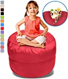 Stuffed Animal Bean Bag Storage Chair in Red – 2.5ft Large Fill & Chill Space Saving Toy Organizer for Children – For Blankets, Teddy Bears, Clothes & Bedding
