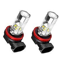 Bonlux LED Car H11 H8 Fog Driving Light - Halogen DRL Fog Light Replacement, 360 Degree Led Car Driving Light Fit for Daytime Running Light or Fog Lights Replacement (H11/H8, Cold White)