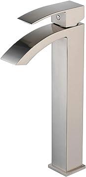 Tall Body Bathroom Sink Faucet Single Handle Hole Waterfall Basin Tap Deck Mount