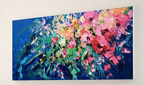 Pink Yellow Roses Flowers Canvas Prints Ready to Hang Large Wall Art Impressionism Floral Decor for Living Room Bedroom Modern Home Decor Artwork Perfect Gift for Her Wife Women Mother Couples