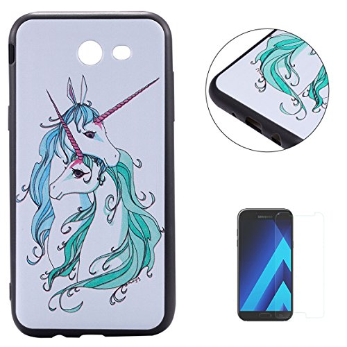 KaseHom for Samsung Galaxy (J3 2017) Case Couple Unicorn Painted Design Anti-Scratch Soft TPU Silicone Gel Ultra Slim Protection Cover Shell with [Free Screen Protector]]()