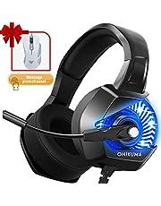 Casque Gaming, ONIKUMA Casque Ps4 avec Microphone Anti Bruit 4D Son Surround 7.1 Stéréo Arceau Réglable & Lumiere LED Casque Gamer Pour PlayStation/PC/Switch/Xbox/MAC/PSP