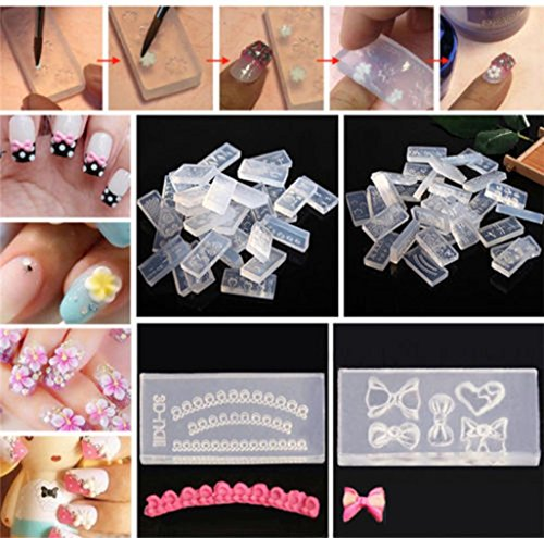 Nail Art Tool,Putars Women Portable 6PCS DIY Nail Art Tips 3D UV GEL Acrylic Powder Silicone Mould Set Nail Design Clear -
