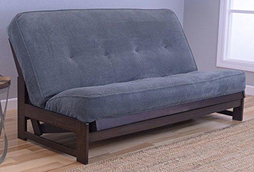 Colorado Reclaim Mocha Frame and Mattress Set w Choice of Fabrics, 7 Inch Innerspring Futon Sofa Bed Full Size Aspen Style Frame w Marmont Thunder