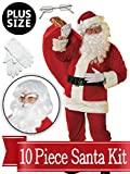 BirthdayExpress Santa XXL Suit - Red Ultra Deluxe Complete 10 Piece Kit - Santa Costume Plush Outfit