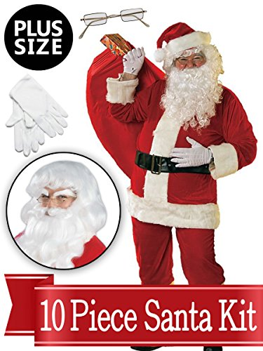 Santa XXL Suit - Red Ultra Deluxe Complete 10 Piece Kit - Santa Costume Plush -