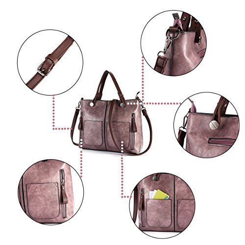Purple Large Retro Bags JOSEKO Handle Leather Satchel Capacity Bags Tote Women Top Crossbody Handbags UROxq