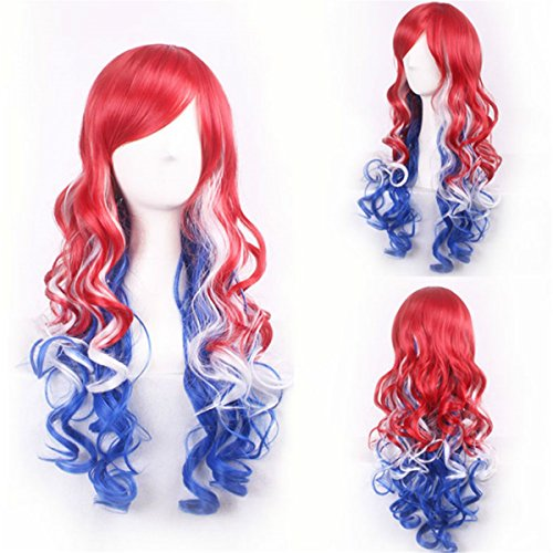 YX Women Harajuku Multi-Color Ombre Long Wavy Manic Panic Cosplay Wig Party Wig - Red White And Blue Wig