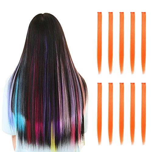 Rosette Hair 20 Inch 10pcs/set Multiple Colors Colored Hair Extensions-Party Highlights Straight Heat Hairpieces-Synthetic Clip on in Hair Extensions