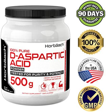 Horbaach D-Aspartic Acid Powder 500 Grams DAA Testosterone Booster Supplement
