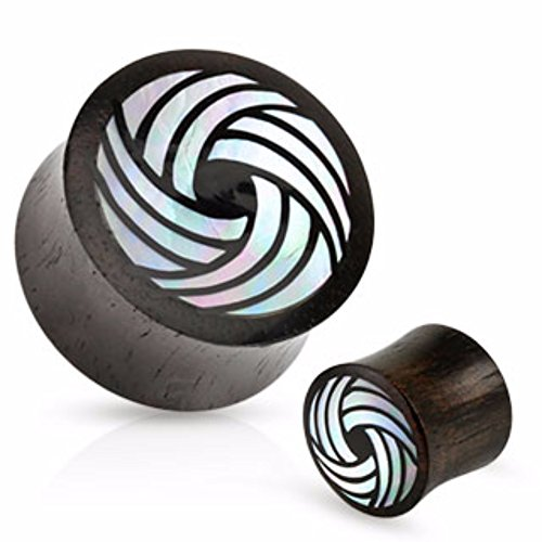 Mother Of Pearl Organic Plugs - Freedom Fashion Mother of Pearl Organic Black Wood Saddle Fit Plug (Sold by Pair)