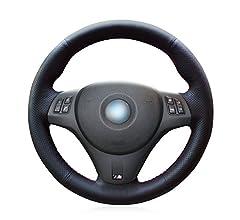 MEWANT Cubierta Del Volante Personalizada Hecha De Cuero Sint/ético Cuero De Microfibra Coser a Mano para E46 E39 330i 540i 525i 530i 330 Ci M3 2001 2003