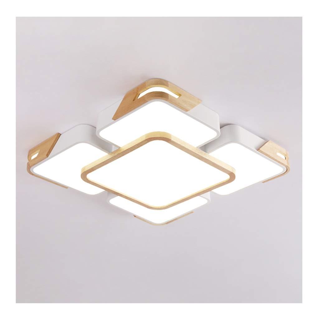 天井照明 シーリングライト - 北欧色LED調光対応シーリングランプ、錬鉄製の木製アートアクリル、リビングルームの装飾ダイニングルームの寝室の照明 シーリングライト (Color : A, Size : Three-color dimming) Three-color dimming A B07T21F1RT