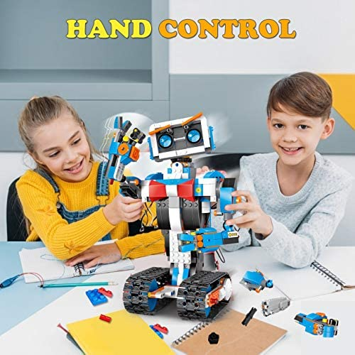 512qT89kzEL. AC  - okk STEM Robot Building Block Toy for Kids, Remote and APP Controlled Engineering Science Educational Assembling Learning Kits Intelligent Rechargeable Creative Set for Boys Girls Gift (635 Pieces)