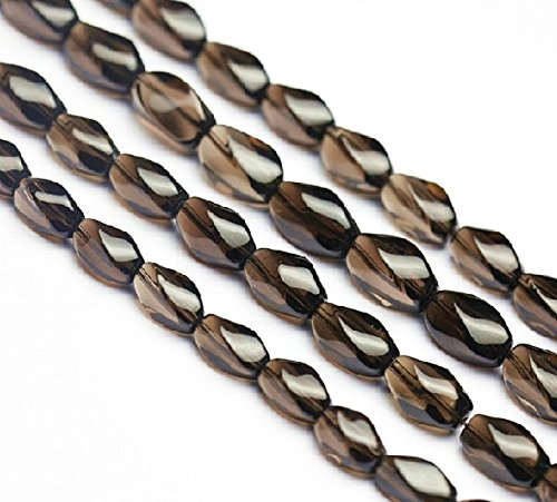 11mm*6mm Natural Smoky Quartz Twist Beads 15 Inch Strand for Jewelry Making (GY48) ()
