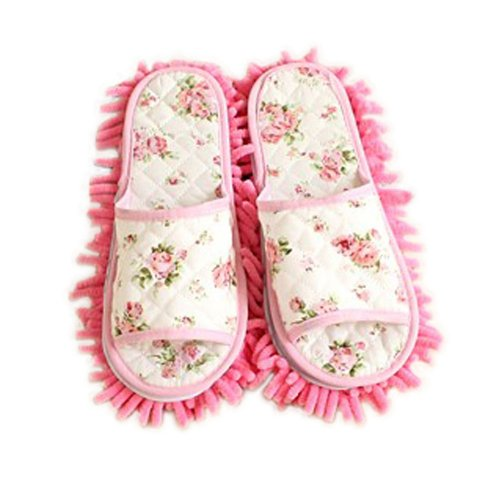 Floral Open toe Microfiber Cleaning Slippers, Pink