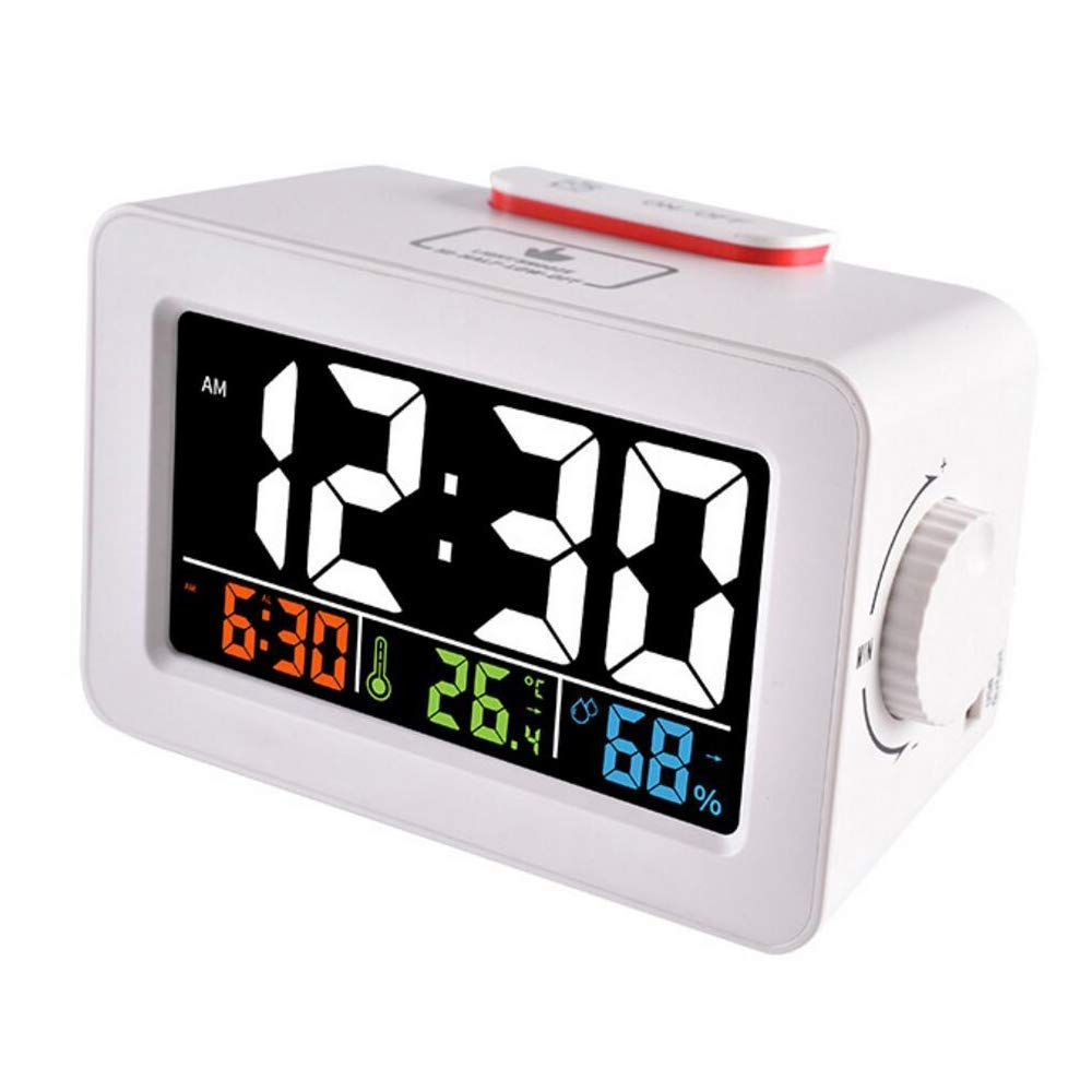 BAIYI Thermometer Color Screen Electronic Clock Creative Thermometer and Hygrometer Alarm Clock with USB Clock,B