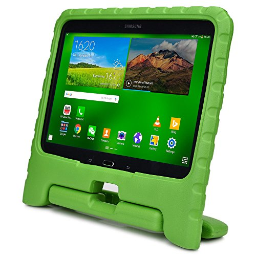 Samsung Galaxy Tab 4 10.1 case for kids, fits Galaxy Tab 3 10.1 [SHOCK PROOF KIDS TAB 10.1 CASE] COOPER DYNAMO Kidproof Child Tab 4 10.1 inch Cover for Boys Girls | Kid Friendly Handle & Stand (Green) (Galaxy Tab 3 Case Handle)