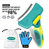 LOOME Pet Grooming Shedding Brush Set, Dog Cat Pet Brush Grooming Deshedding Tool with Self Cleaning Fur Remover Button & Pet Glove, Brush Kit Comes with Gift Bag