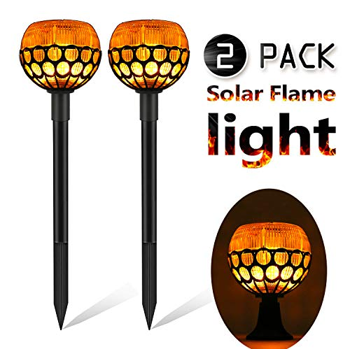 (rnairni Solar Torch Lights, Waterproof Outdoor Flash LED Wall Lamp Floor Landscape Lights for Camping, Garden, Pathway, Lawn, Patio,Yard - 2 Pack)