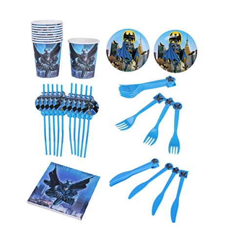Astra Gourmet Batman Party Supplies Pack for 20 Guests: Straws, Plates, Napkins, Cups, Cutlery (Bundle for 20) -