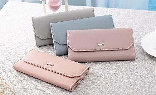 Da Bag Semplice Grigio Pieghevole Bit Facile Colore Hand Moda Clothes Leisure Versione Sezione Rosa Tre Lady card Multi Wallet Guidare Coreana Lunga Sottile I41w7xHq