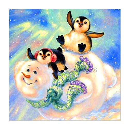 MXJSUA 5D Diamond Painting Full Round Drill Kits for Adults Pasted Embroidery Cross Stitch Arts Craft for Home Wall Decor Skiing Penguin and Snowman 12x12in (Snowman Skiing)